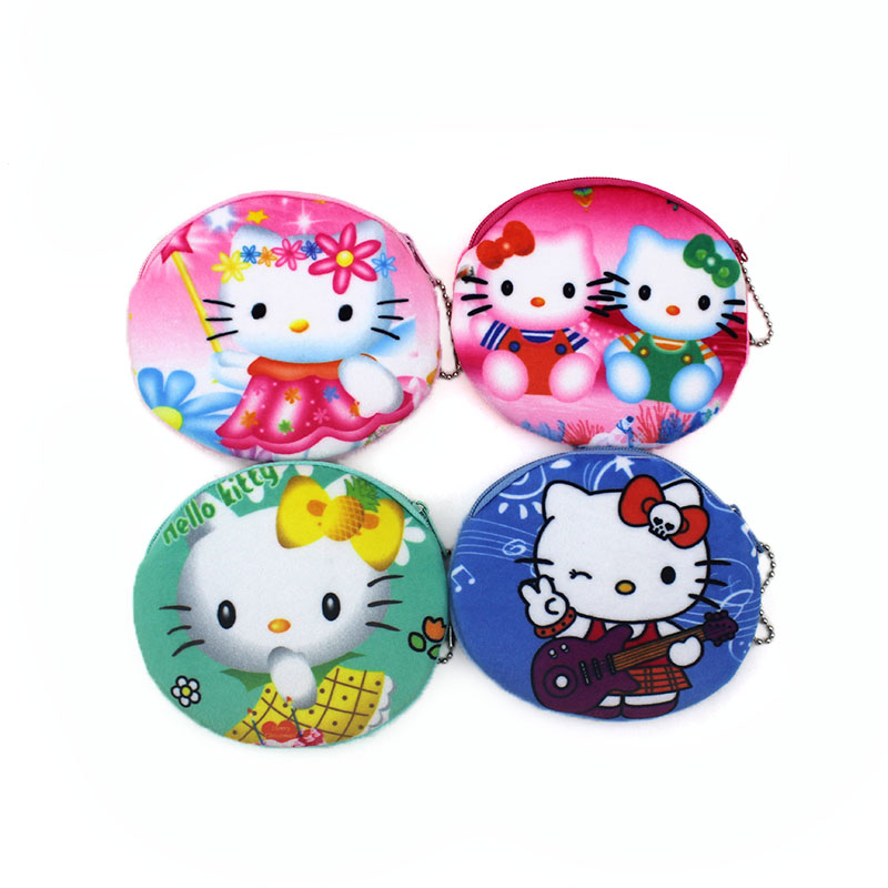 2017 Promotion 3D Oval Prints Kitty Children Mini Coin Purse Women Storage Pouch Cute Cat Wallets Kids Coin Bag For Gift xydyy cute 3d red apple prints women plush coin purse mini zipper kids coin purse girls christmas fruit pouch purse for gift