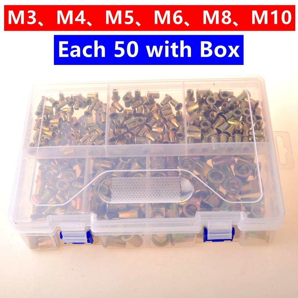 Riveter Nut 300PCS M3 M4 M5 M6 M8 M10 Head Rivet Nuts Set Nuts Insert Reveting Multi Size Rivet Nuts With B