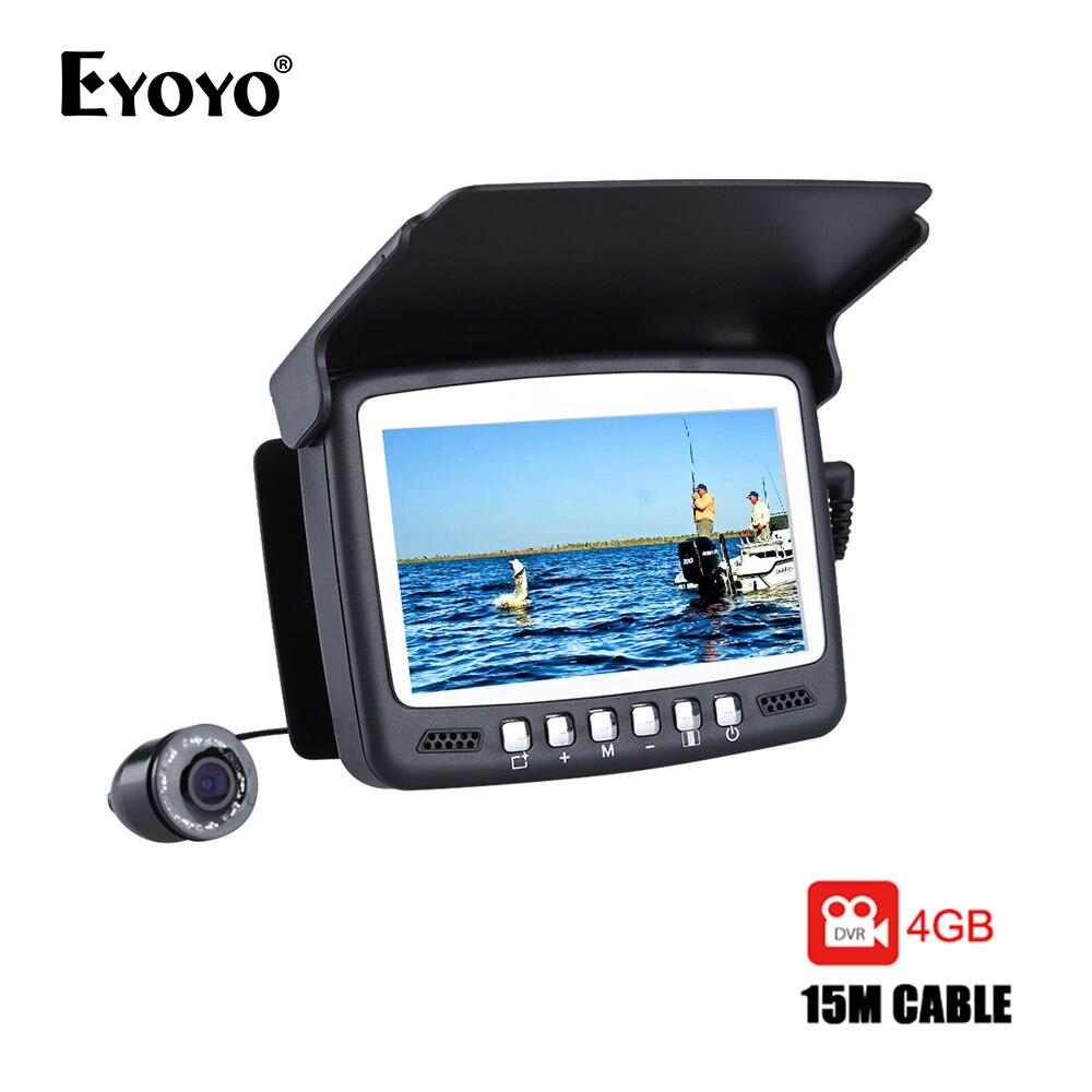 Eyoyo D'origine 15 m Fish Finder Sous-Marine 1000TVL Glace De Pêche Enregistrement Vidéo Caméra DVR 8 infrarouge LED Pare-Soleil + 4g TF Carte