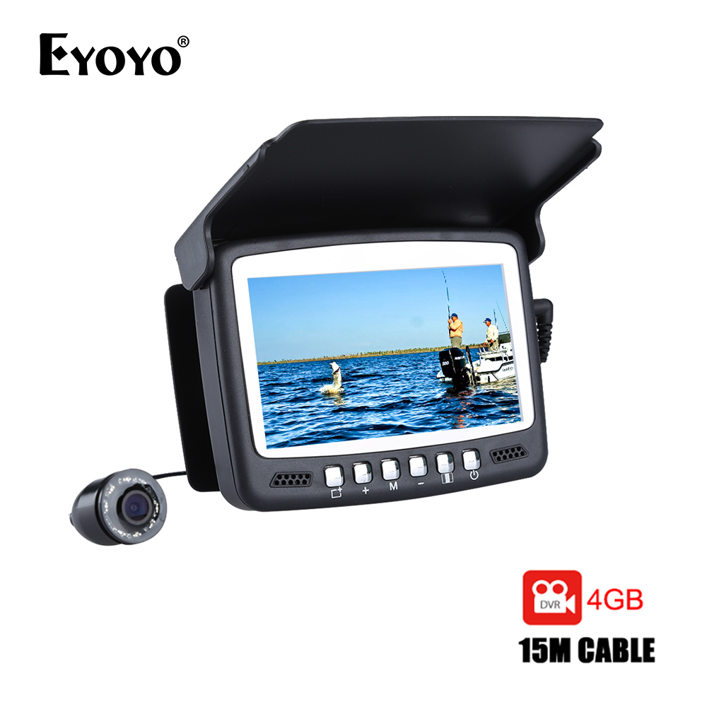 Eyoyo Original 15M Fish Finder Underwater 1000TVL Pesca sul ghiaccio VIdeo Recording Camera DVR 8 infrarossi LED Sunvisor + 4G TF Card