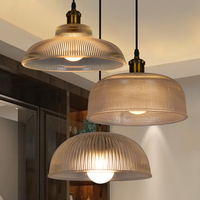 Vintage Retro Pot Cap Thicken Clear Glass Lampshade Hanging lamp G80 Bulb Pendant Light Fixture for Home Bar Lighting