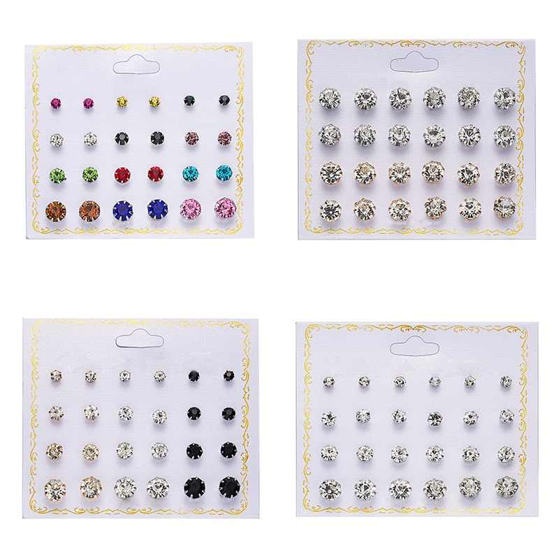 Fashion 12 pair/set Women Round Crystal Stud Earrings for Women Cubic Zircon Piercing Earrings for Girls Jewelry Gift