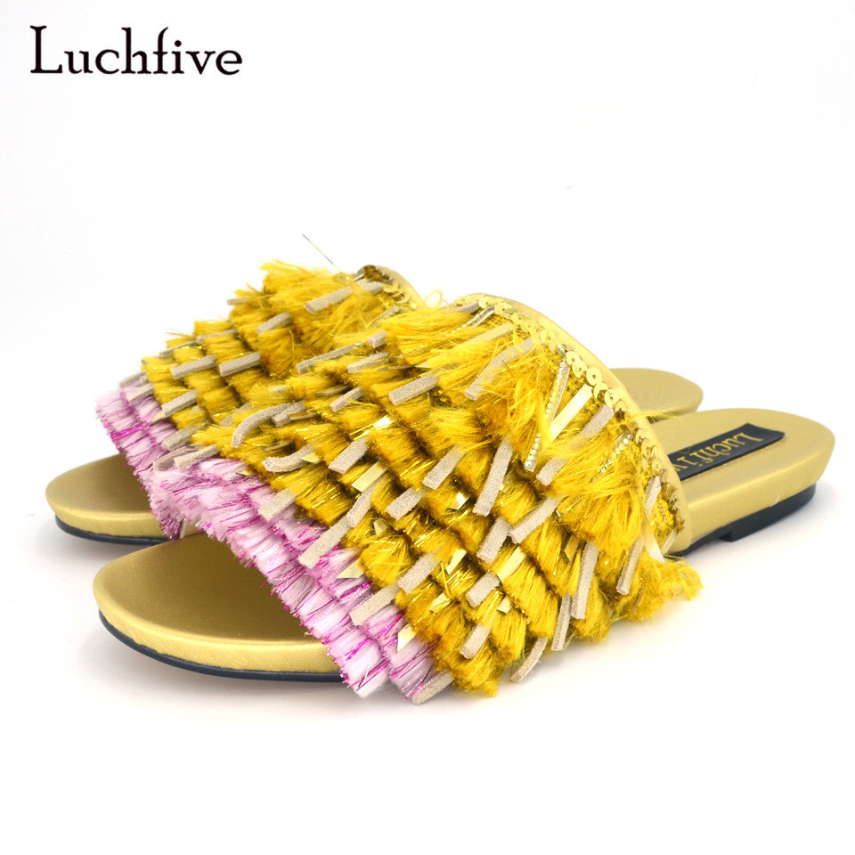 New Style Gold Fringed Tassel Slides Shiny Squins Cloth Sandy Beach Summer Women Shoes Peep Toe Flat Holiday Slippers sandy lane stables riding holiday