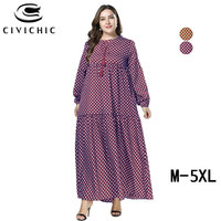 CIVI CHIC Big Size Women Autumn Swing Gown Classic Polka Dots Maxi Dress Spring Long Robe Femme Drawstring Party Vestidos DRS279