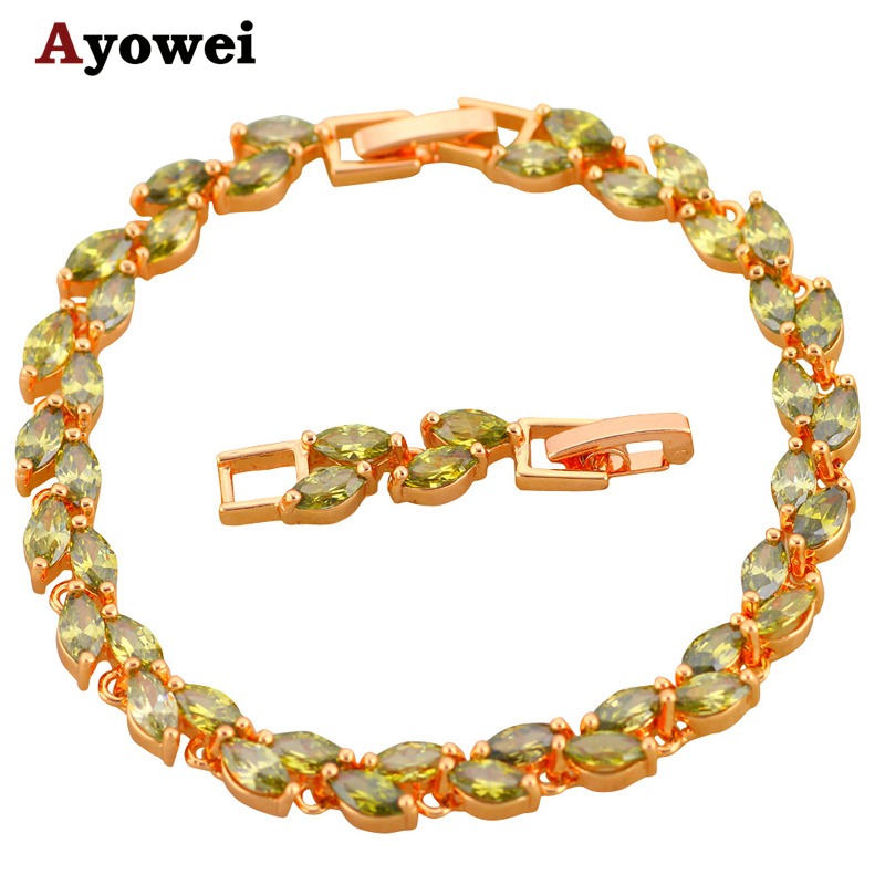 Πραγματικά φρέσκο χρώμα AAA Ζιργκόν και Peridot Crystal Χρυσό τόνο Βραχιόλια Υγεία Νικέλιο & Μολύβι μόδα κοσμήματος TB419A