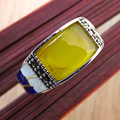 GZ Punk Garnet MARCASITE Natural Yellow Agate S925 Thai Silver Ring 100% Pure 925 Sterling Silver Rings for Women Jewelry LR98