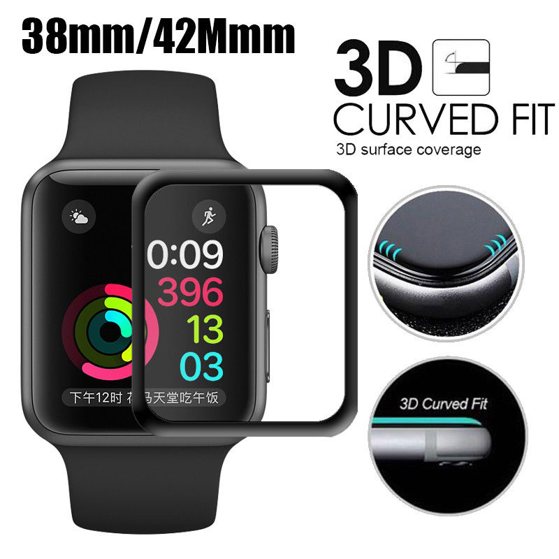 For iWatch Tempered Glass 3D Full Cover Screen Protector For Apple Watch 38mm 42mm Series 123 Curved Edge Protective Film