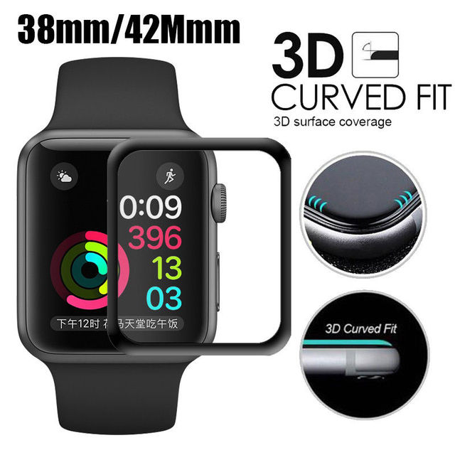 For iWatch Tempered Glass 3D Full Cover Screen Protector For Apple Watch 38mm 42mm Series 1/2/3 Curved Edge Protective Film