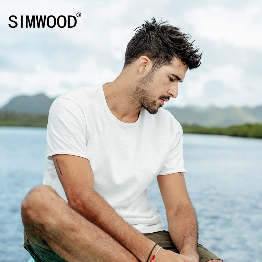 SIMWOOD New   t     shirts   Men 2019 Summer curl raw edge 100% Cotton Slub Jersey Slim Fit   T  -  Shirt   Short Sleeve Brand Tees 190052