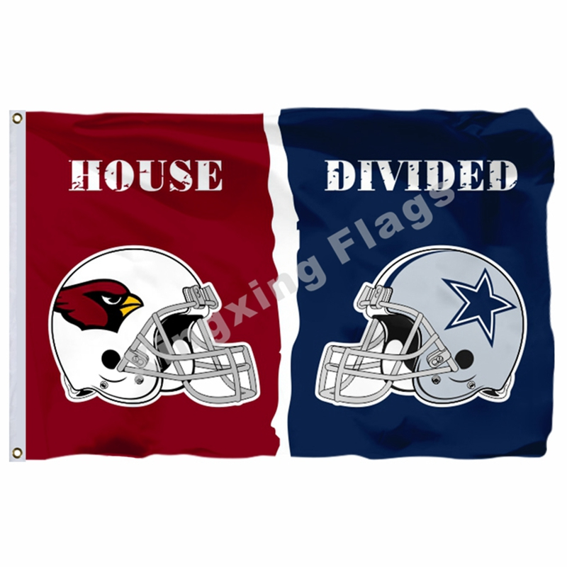 Arizona Cardinals Dallas Cowboys Helmets House Divided Flag 3ft X 5ft Polyester NFL Banner Size No.4 144*96cm Custom Fla