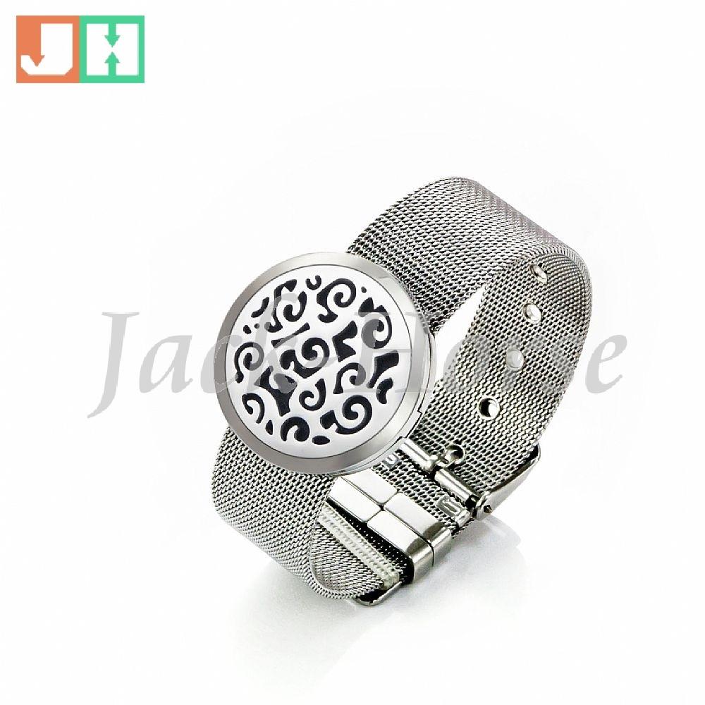 Stainless Steel Essential Oil Diffuser Bracelet Perfume locket strap bracelet 30mm Aromatherapy Bracelet
