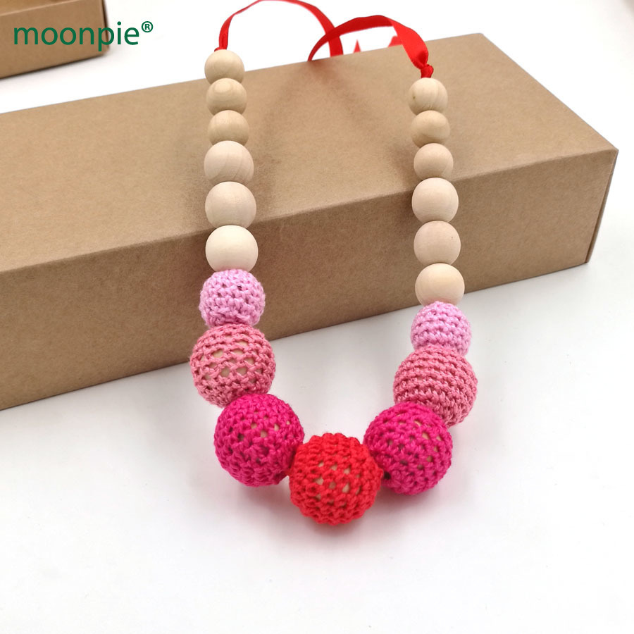 1 unid venta bola crochet enfermería dentición collar fushia fade punto  pelota orgánico seguro Año Nuevo Navidad regalo NWr1336 44004b715b0