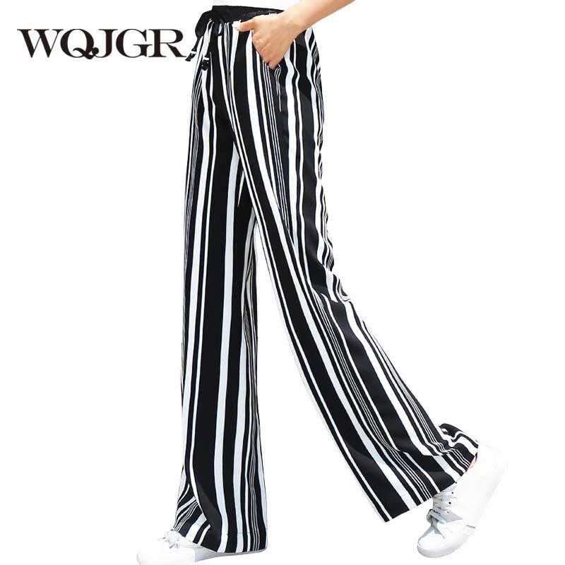 WQJGR Fashion News   Wide     Leg     Pants   Woman Chiffon High Waist Loose Korean Stripe Trousers Women