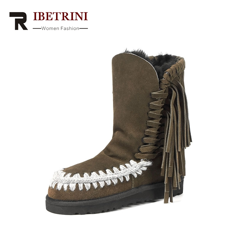 RIBETRINI 2017 Winter Tassel Cow Suede Platform Ankle Snow Boots Sewing Warm Fur Women Shoes Large Size 33-43