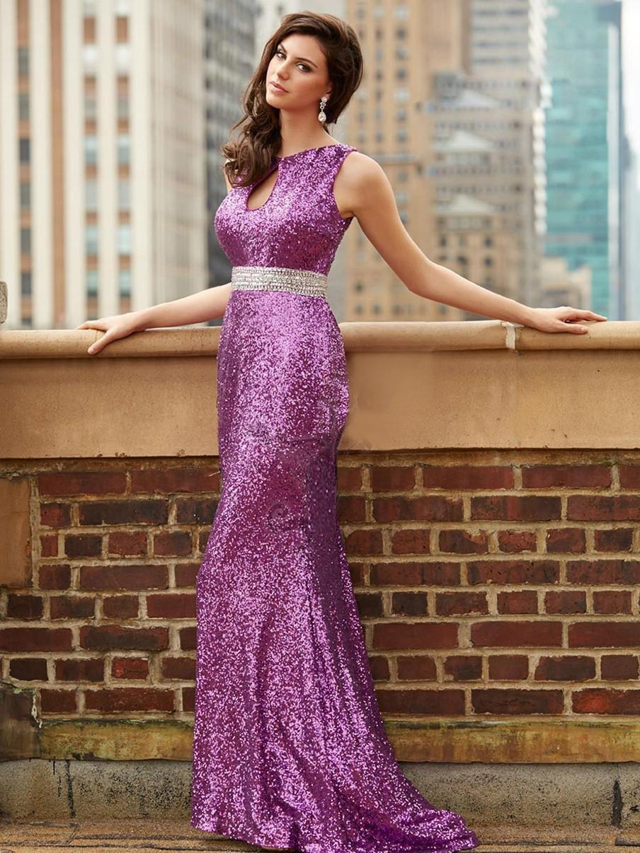 Purple Sequin Open Back Prom Dresses