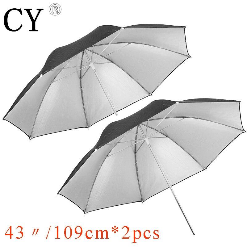 Lightupfoto 2 pcs 43 109cm Studio Black/Silver Reflector Umbrella studio umbrella fotografia umbrella PSCU4C2