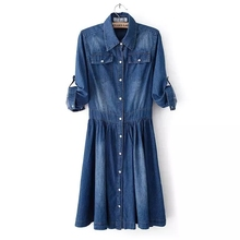 2016 New Arrival Spring and autumn fashion clothing plus size women denim dress elegant slim cowboy casual dress 4XL Jeans