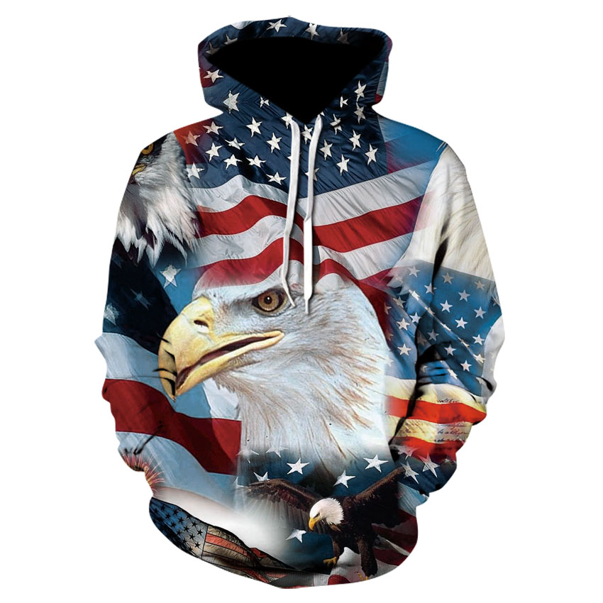 USA Flag Eagle Print Hoodie Personalized Print Street Wear Hoodie Animation 3D Printed Animal Casual Sweatshirt New 2019