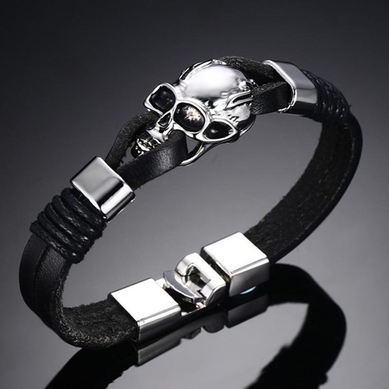 Bracelets de crâne en cuir véritable  4