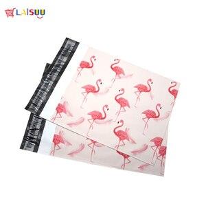 Image 3 - 50 pcs 25.5*33 cm 10*13 אינץ אופנה ורוד פלמינגו דפוס פולי הדיוורים עצמי חותם פלסטיק דיוור מעטפת שקיות