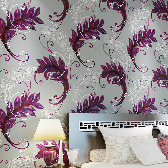 Non Woven Wallpaper Living Room Tv Wall Hand Draw Peacock Feather Patterns