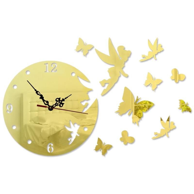 3D DIY Fairy Angel Flew Away Wall Clock Angel Butterfly Pattern Acrylic Mirror Wall Clock Sticker Home Decoration
