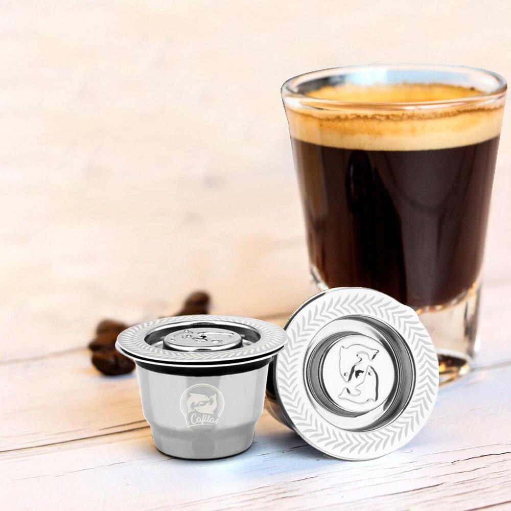 Neue Edelstahl Metall 2 in 1 Nutzung Kaffee Filter Nespresso Wiederverwendbare Kapsel Nachfüllbar Refilable 1 Löffel + 1 Pinsel