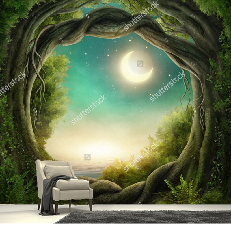 Custom papel de parede infantil, Forest in the moonlight,3D fantasy wallpaper for living room bedroom wall waterproof wallpaper обои great wall 3d papel de parede infantil qy0003