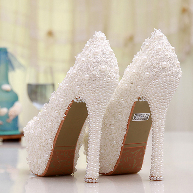 b49cb1a77b3 White Lace High Heel Wedding Shoes Lace Flower Bride Dress Shoes Best Price  Dropshipping Bridesmaid Shoes Adult Ceremony Pumps-in Women s Pumps from  Shoes ...