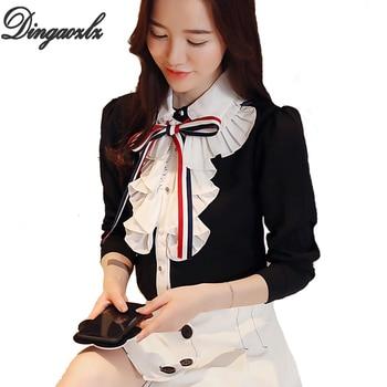 912a084d4497 Dingaozlz moda arco costura Blusa de gasa elegante mujer de manga larga  Camisa de gasa casual ...