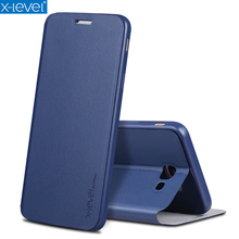 X-Level Book Leather Flip Cases For Samsung Galaxy J7 Prime Ultra Thin Business Leather Funda Cover Case For Samsung On7 2016