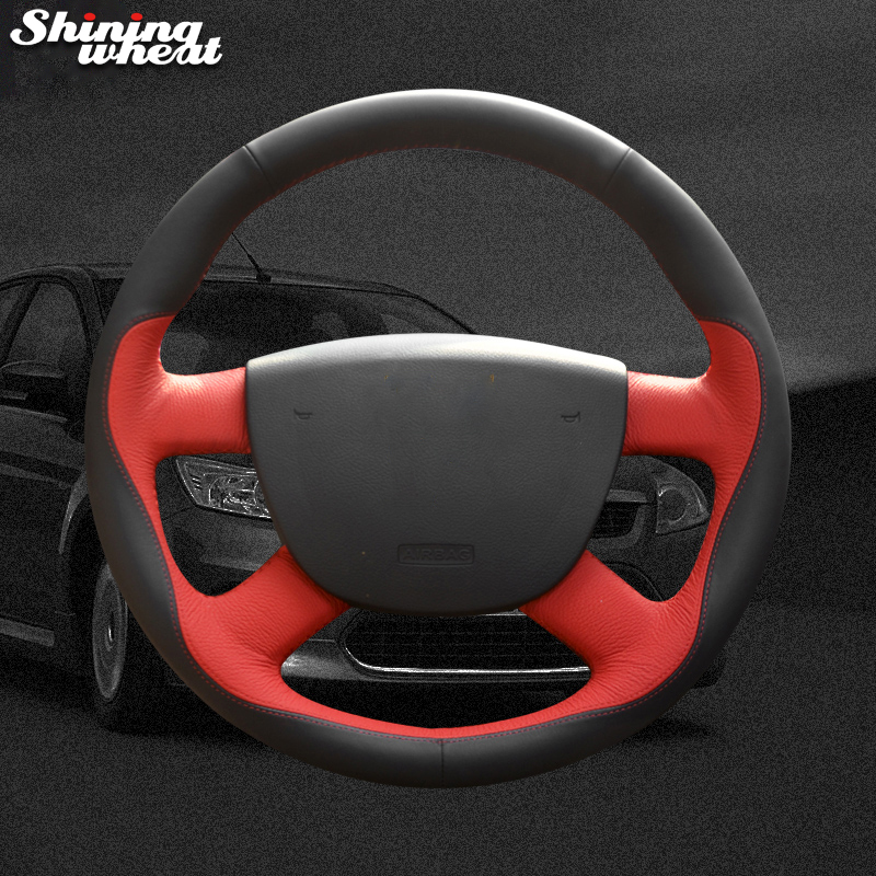 Shining wheat Black Red Leather Black Suede Car Steering Wheel Cover for Ford Kuga 2008-2011 Focus 2 2005-2011 C-MAX 2007-2010 shining wheat black genuine leather car steering wheel cover for fiat bravo 2007 2011