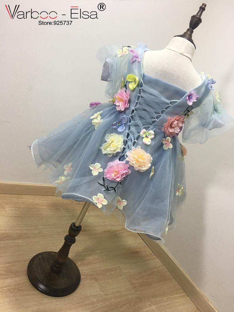 VARBOO_ELSA 2017 Flower Girls Jurken voor bruiloften custom Blue - Bruiloft feestjurken - Foto 2