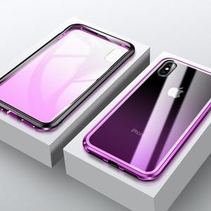 Image 3 - 360 מלא הגנה מול & אחורי מזג זכוכית מקרה עבור iPhone X XS MAX XR יוקרה מתכת מגנט פגוש מקרה עבור iPhone XS כיסוי