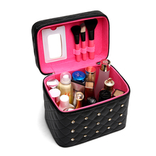 Portable Black Women Cosmetic Bag Diamond Make Up Professional large capacity Trunk Case Trousse Maquillage Femme