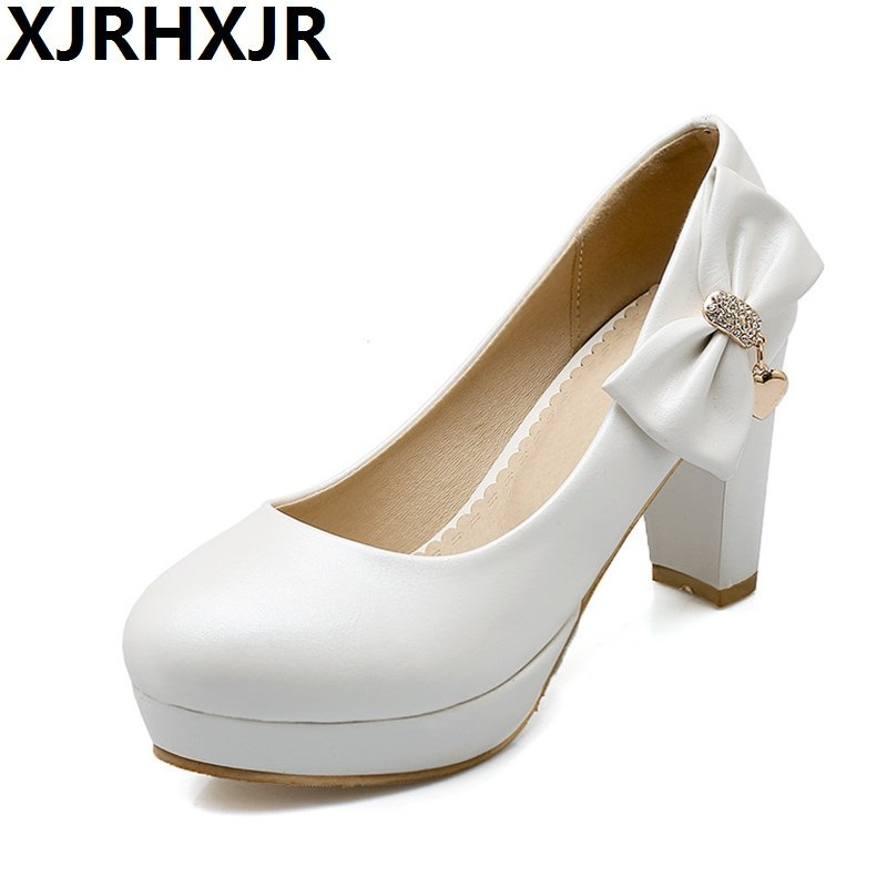 Free Shipping Heels Shoes Women Thick High Round Toe Girls Shoes Student Pumps Bow Ladies Wedding Party Casual Shoe Size 33-43 siketu 2017 free shipping spring and autumn women shoes sex high heels shoes wedding shoes sweet lovely pumps g126
