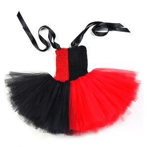 Image 4 - Harley Quinn Tutu elbise kırmızı siyah fantezi çocuk kız karnaval cadılar bayramı Joker palyaço Cosplay kostüm çocuklar doğum günü partisi elbisesi