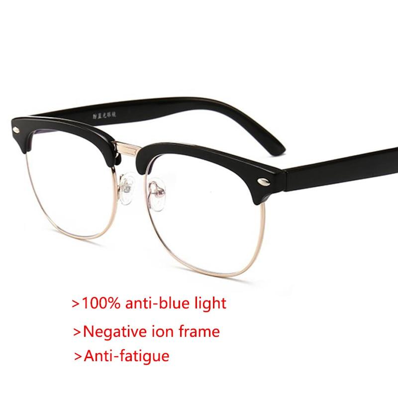 100% Anti Blue Ray Gläser Computer Brille Männer Mode Luxus Optische Halb Rahmen Gläser Negative Ionen Anti Müdigkeit Gläser Neue Sorten Werden Nacheinander Vorgestellt