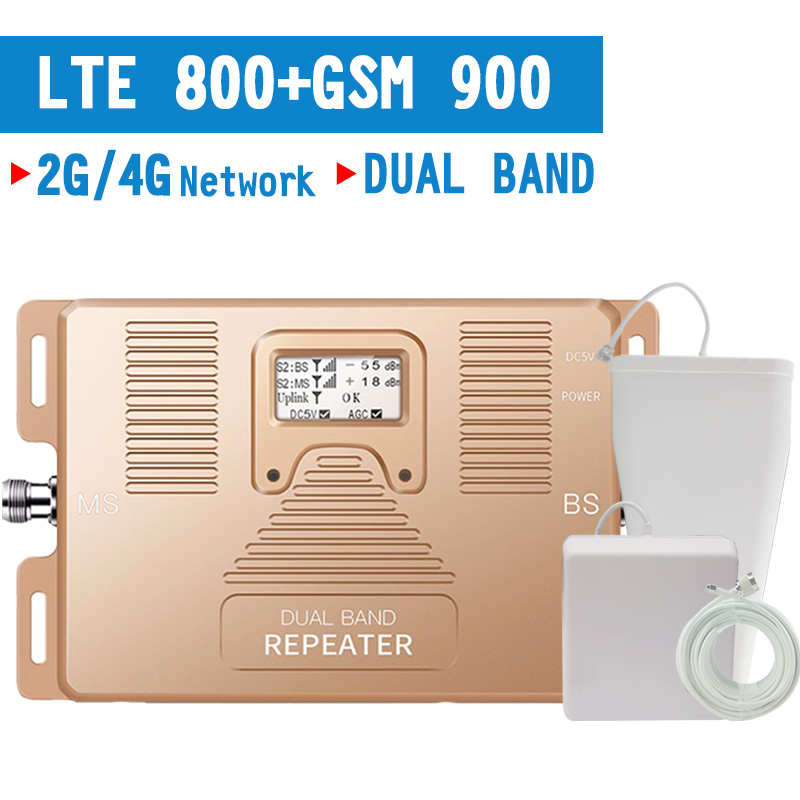 Walokcon 4G LTE 800 GSM 900 Mobile Signal Repeater LCD Display Signal Booster 900 800mhz 4G LTE Amplifier LCD Display 70dB Gain