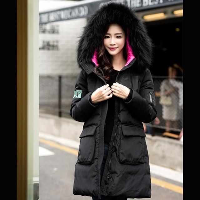 f8aab609f09b0 Winter Coats And Jackets Woman 2018 Hooded Fur Collar Super Warm Slim Down  Jacket Ladies Hot Sale Big Pocket Convenience GQ1563
