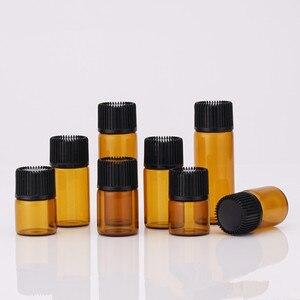 Image 2 - 1 مللي 2 مللي 3 مللي 5 مللي صغيرة العنبر الزجاج زجاجة زيت طبيعي مع غطاء أسود براون الزجاج زجاجة عينة اختبار إعادة الملء زجاجات 100 قطعة