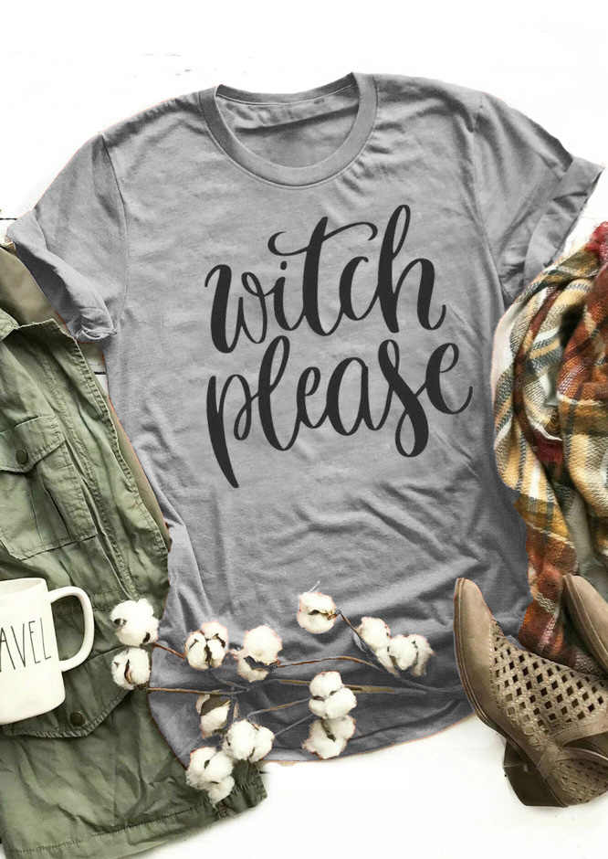 e984d2cce4 ... Witch Please Short Sleeve T-Shirt Halloween tshirt Women Funny Graphic  tees summer style outfit ...