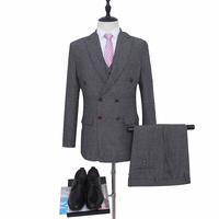 NA63 Double Breasted Buttons Peak Lapel Tweed Suits Wool Herringbone Mens Suits Wedding Made to Measure Tailored Size Male Suit