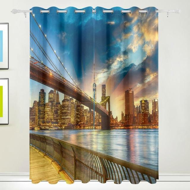 New York City Sunset Curtains Drapes Panels Darkening Blackout