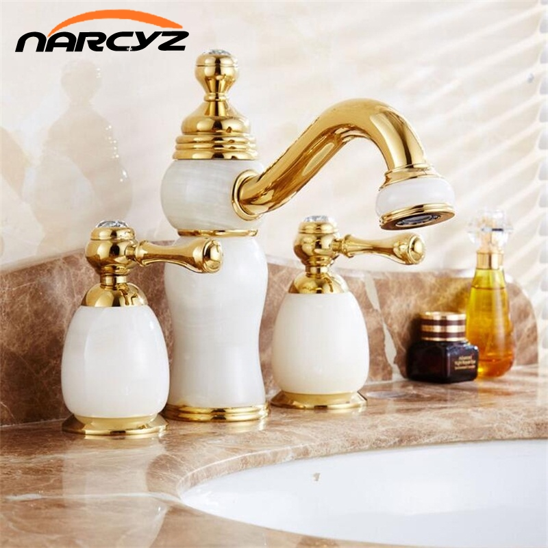 Narcyz New Style Fahshion European jade basin faucet retro Hot and Cold three hole faucet bathroom sink double tap XR8215 american black three hole retro basin faucet european style washbasin bathroom hot and cold split bathtub faucet lu41316