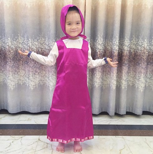 2019 New Mashae y el oso Cosplay Party Costume Purple Dresses Decoration Childrens Fancy Dress Anime Onesie Clothing