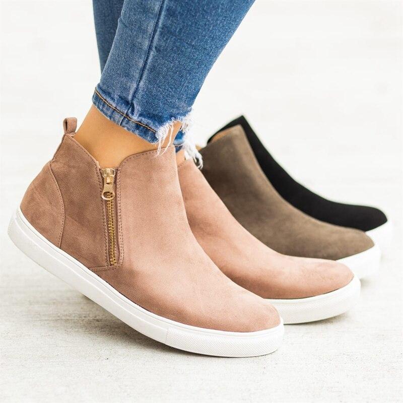2019 Fashion Women Vulcanize Shoes Comfort Leather Ankle Shoes Ladies Zipper Flat Casual Shoes Fashion Retro Sneakers Plus Size2019 Fashion Women Vulcanize Shoes Comfort Leather Ankle Shoes Ladies Zipper Flat Casual Shoes Fashion Retro Sneakers Plus Size