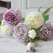 Western Rose Fake Flowers 3 Heads Artificial Flower Branch for Christmas Home Garden Decoration Wedding Silk Real Touch Florals