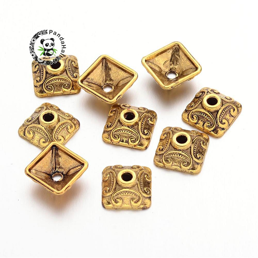 10mm Antique Golden Square Tibetan Style Bead Caps, Lead Free And Cadmium Free, Size: About 10mm Wide, 10mm Long, 5mm Thick,