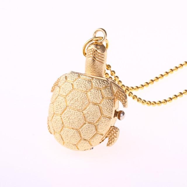 2018  Lovely turtle shapes Special Design Turtle Shape Unisex Antique Case Vintage Brass Rib Chain Quartz Pocket Watch  #0521